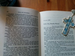 This bookmark has lived in the Anne books since before they were mine.  It's the same shade of blue as Rilla's cover.
